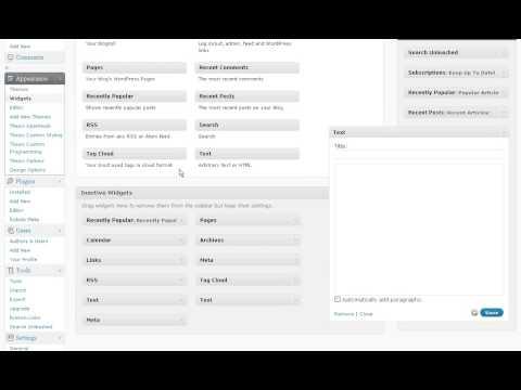 Sidebar Widgets Interface in WordPress Version 2.8