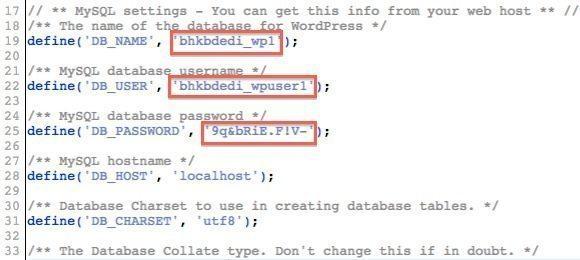 Backup WordPress Database Details