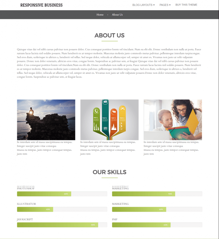 About us page Responsive Business Theme