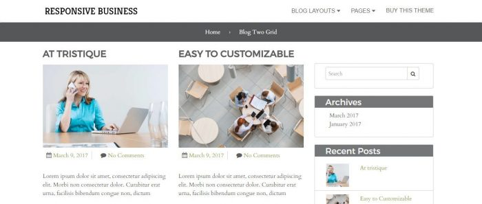 Responsive Business Theme Blog Two Grid