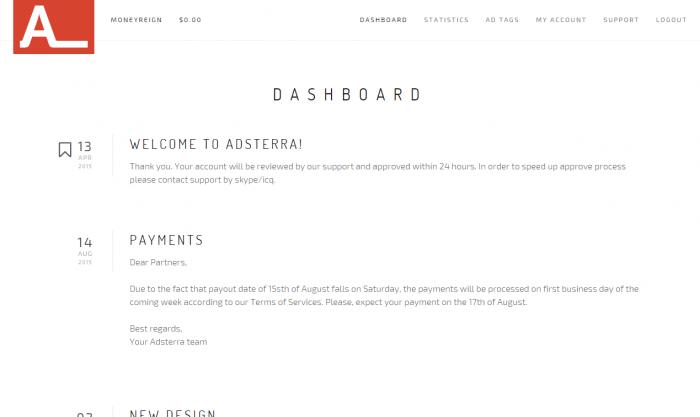 Adsterra Dashboard