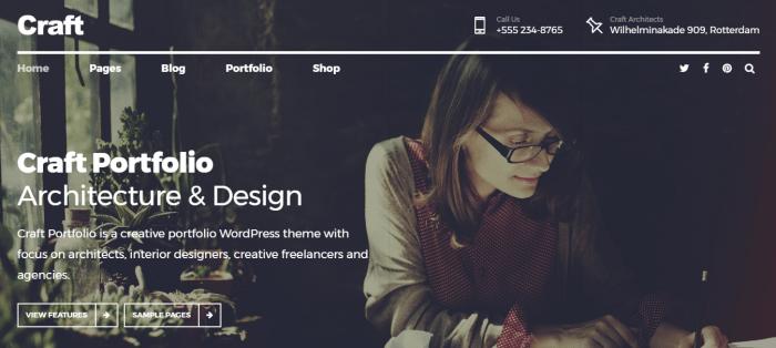 craft portfolio wordpress theme
