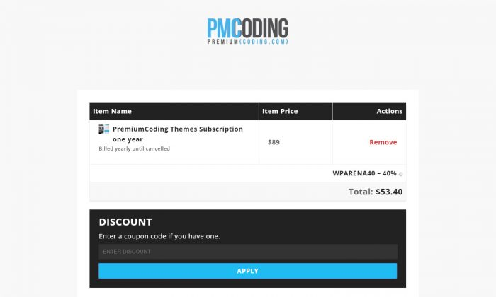 PremiumCoding Theme Coupon
