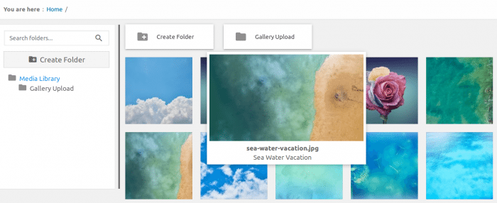 WP Media Folder image preview