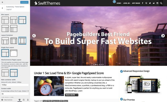 PageSpeed theme's layouts
