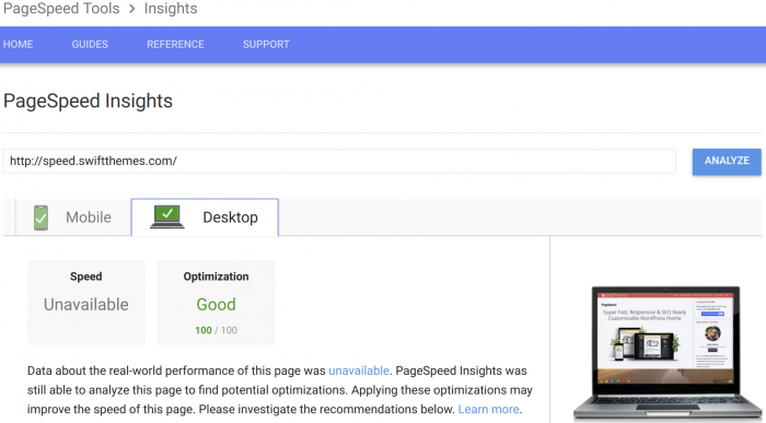 PageSpeed Google PageSpeed Tools desktop result
