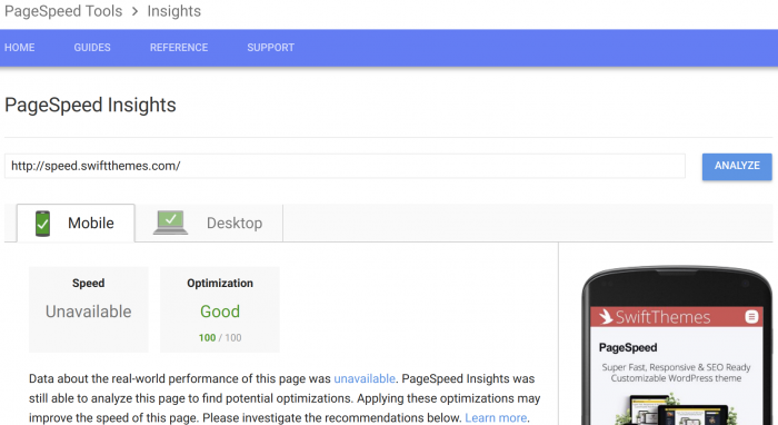 PageSpeed Google PageSpeed Tools mobile result