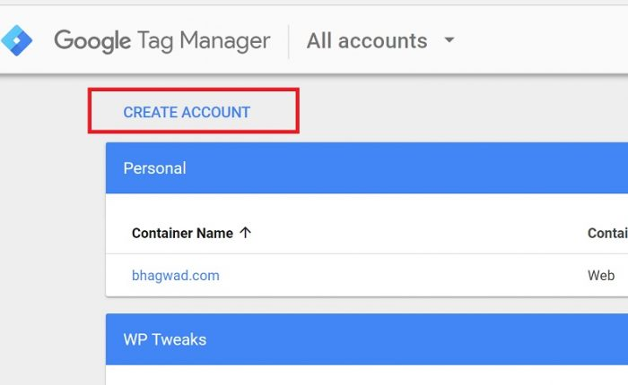 Create an account in Google Tag Manager