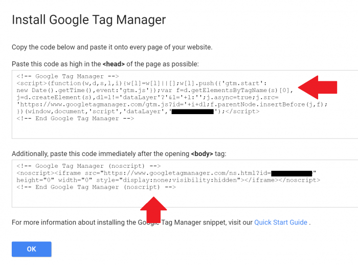 Insert Two Snippets of Code into Google Tag Manager