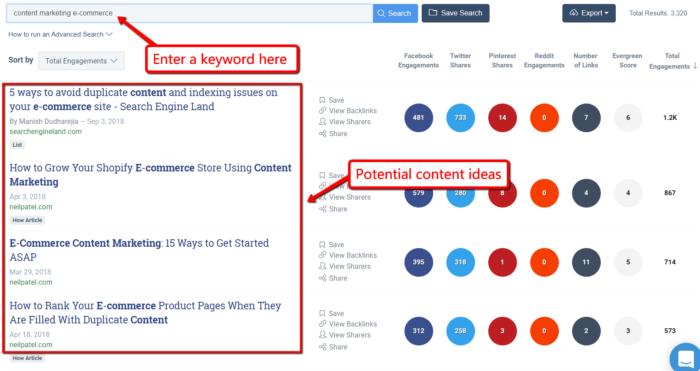 BuzzSumo Content Search