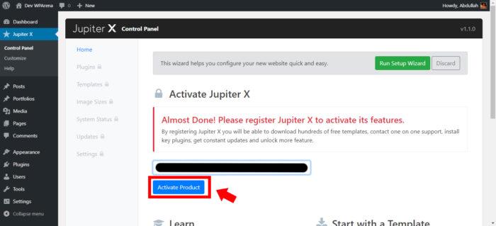 A screenshot of activating Jupiter X product