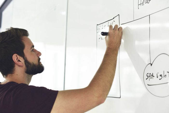 A photo of a person drawing on a whiteboard to increase business productivity