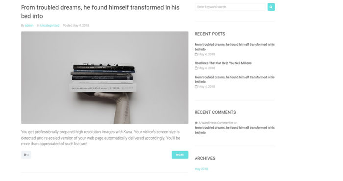 A blog page with a post