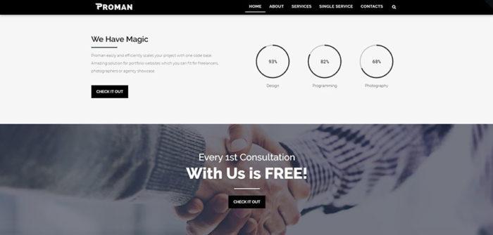 Homepage of portfolio business WordPress theme