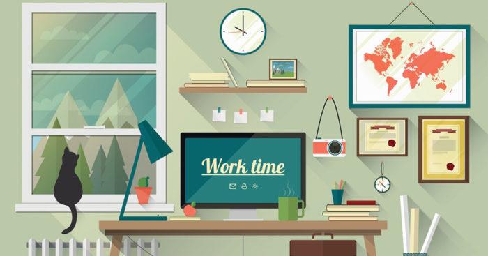 An illustration of a freelancer's work desk at home