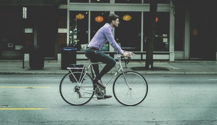 A photo of a person riding a bicycle