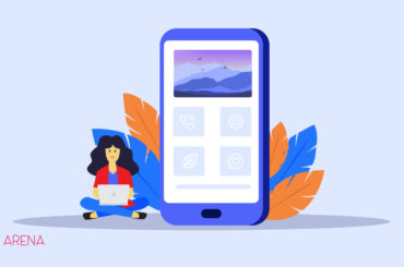 An illustration of a smartphone and a female character for WpArena