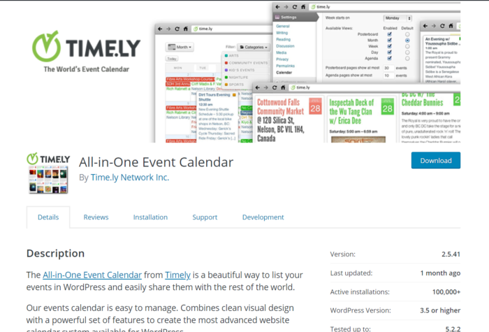all in one events calendar