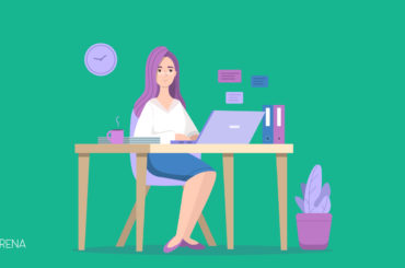 an illustration of a business woman sitting on her desk
