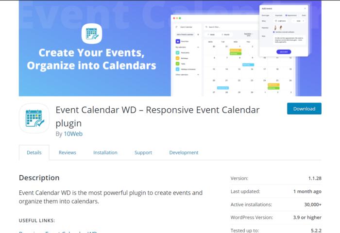 event calendar wd plugin