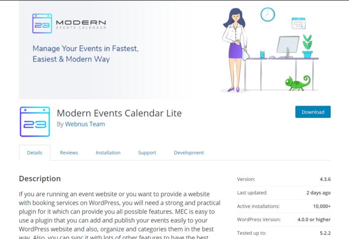 modern events calender