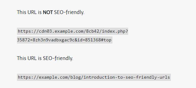 SEO friendly URL examples