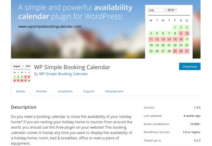 simple booking calendar wordpress