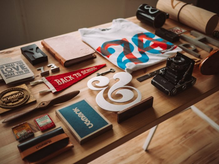 A photo of branding material on a table