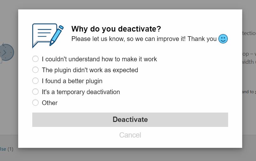WordPress plugin feedback system - Feedback questions