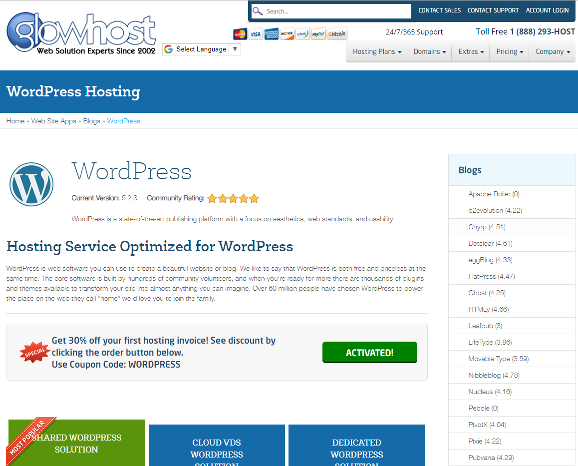 glowhost wordpress hosting page screenshot