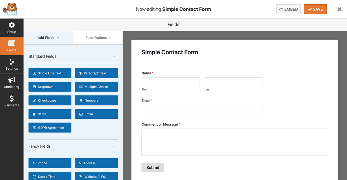 wpforms screenshot