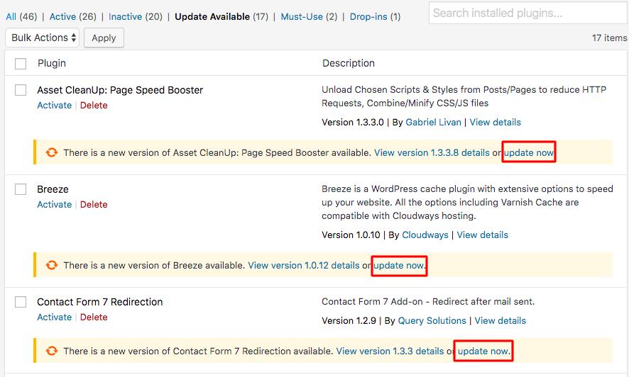 Screenshot of Plugins page in WordPress