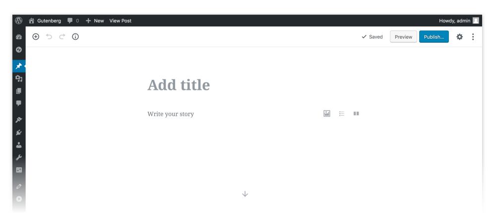 wordpress gutenberg editor page
