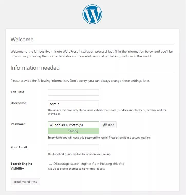 wordpress website infrastructure and admin panel