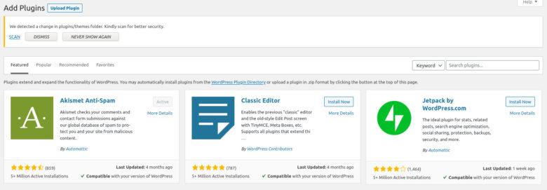 plugin search page wordpress repository