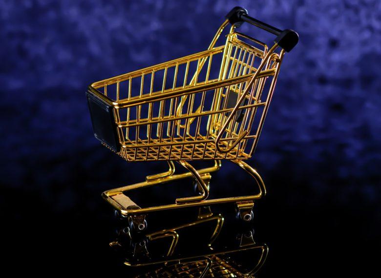 a golden shopping cart