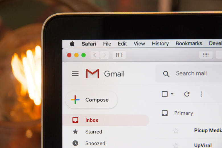A photo of MacBook with Gmail open in Safari